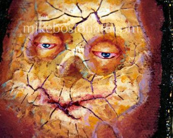 BLAUWE EYED KRUIP 9 x 9 x 2 Acryl schilderij met glanzende hars vernis  Originele kunst; © Mike Boston 2013