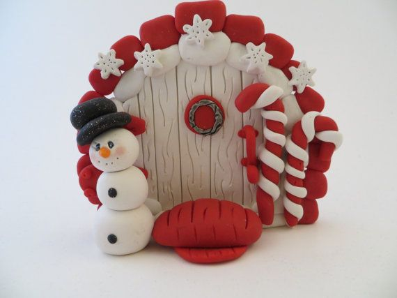 Polymer Clay Christmas Fairy Door by ImaginationsInClay on Etsy, $18.00