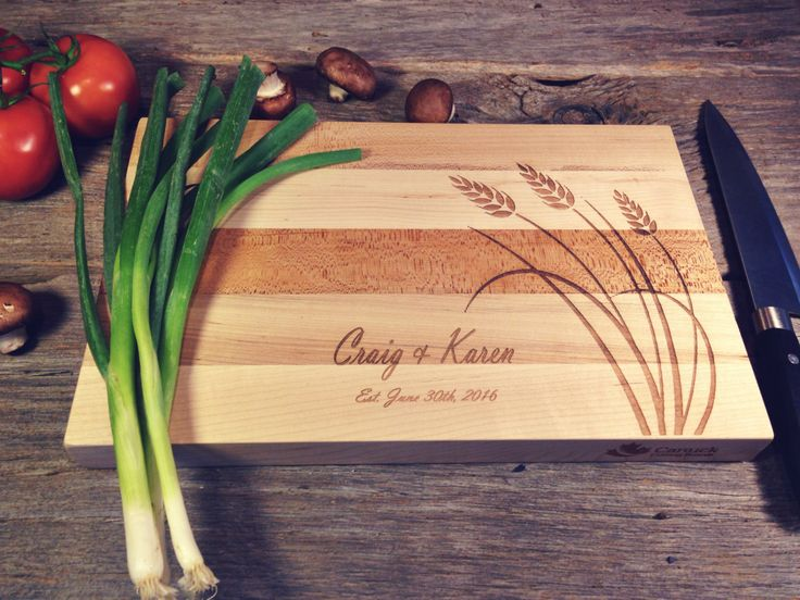 Personalized Maple Canuck Cutting Board Laser Engraved With Wheat Design and…