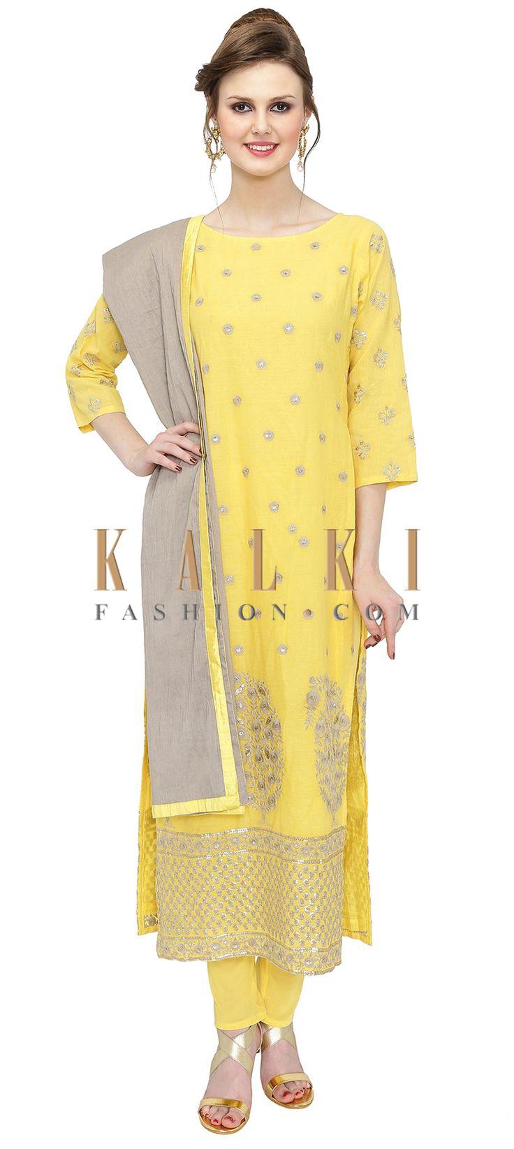 Yellow Grey Cotton Silk Kurta Churidar Ensemble with Resham and Sequins only on Kalki