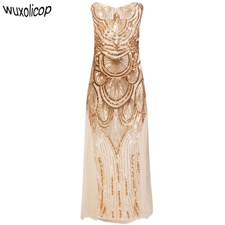 Cheap sexy party dress, Buy Quality party dresses directly from China sexy party Suppliers: Women Long Strapless Gold Off Shoulder Art Deco Banquet Dress Vestido Longo De Festa Lace-Up Mesh Sequin Sexy Party Dress