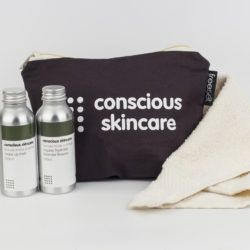 Award Winning Fair Trade Organic Cleansing Duo Set £25. Make Up Remover & Toner with organic cotton cloth & in a fairtrade organic cotton bag, lined with recycled sarees & made by women escaping poverty