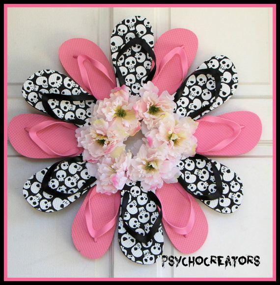 Flip Flop Wreath Skull Pink Black Door Hanging by PsychoCreators