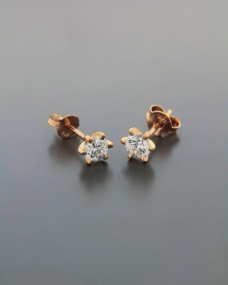 Σκουλαρίκια ροζ χρυσά Κ14
