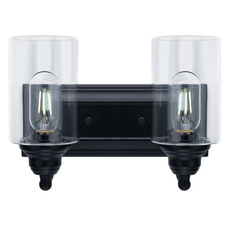 2-Light Vanity Light Fixture Modern Clear Glass Shades ...