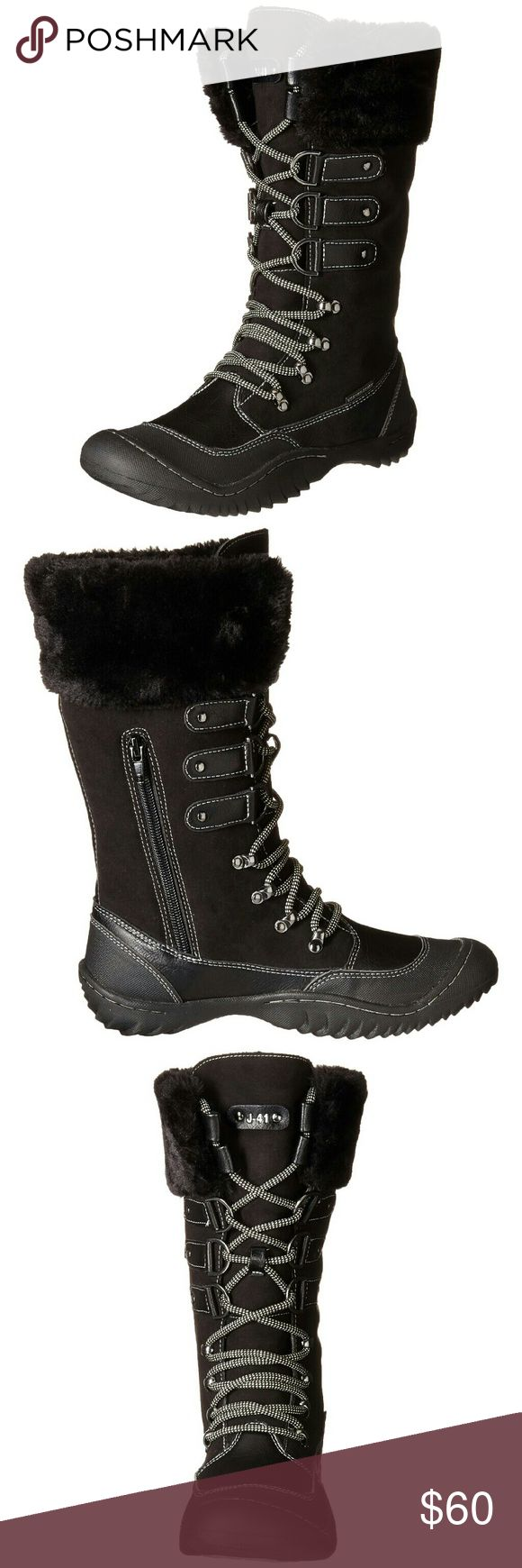 """J-41 Duchess Snow Boots W 10M Vegan Friendly Black 50% Micro Suede/25% Rubber/25% Faux Fur Imported Rubber sole Shaft measures approximately 11"""" from arch Heel measures approximately 1/2"""" Waterproof Eco friendly All terra traction Memory foam insert Faux fur liner great for the cooler weather Made in China  Box may have shelf wear.              Unique and with amazing comfort features the new J-41 Duchess is winter boot royalty! Featuring an outstanding and impeccable design the new Duchess…"""