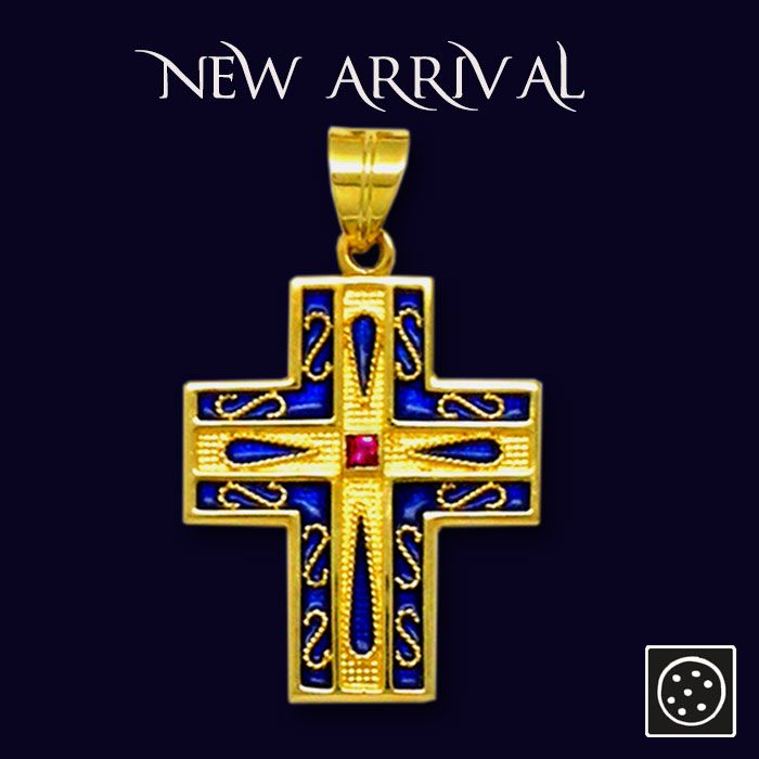A new 18K solid gold cross pendant with hot, vitreous enamel and ruby. Checkout the link for more details.