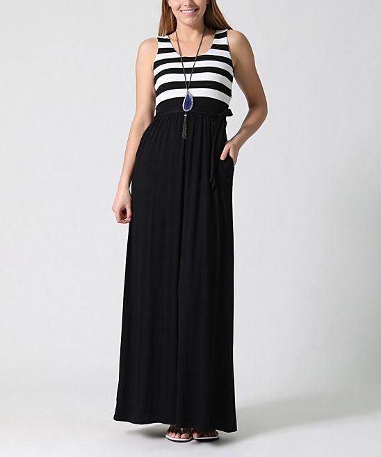 Black Amp White Stripe Bodice Maxi Dress Dresses Black