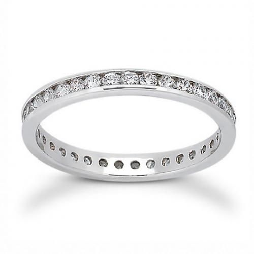 925 Sterling Silver Channel CZ Eternity Wedding Band Ring Stackable