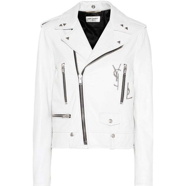Saint Laurent Leather Biker Jacket ($4,765) ❤ liked on Polyvore featuring outerwear, jackets, coats, white, leather biker jacket, yves saint laurent, white moto jackets, biker jacket and white jacket