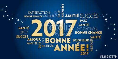 Vecteur : Carte de voeux – bonne année 2017 - bleu et dorée.