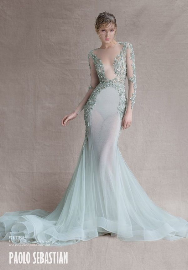 Mint Illusion Wedding Dresses from Paolo Sebastian SS Couture 2014-15