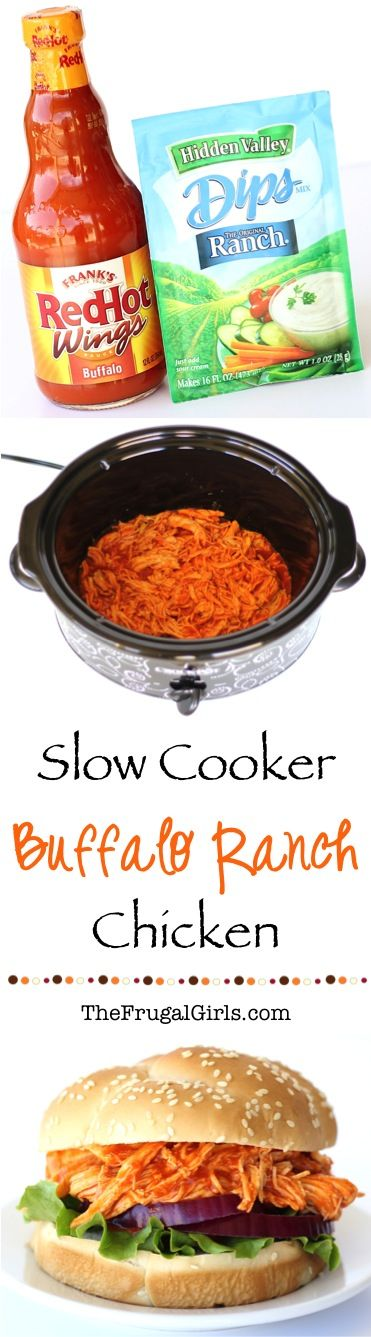 Crockpot Buffalo Ranch Chicken Sandwich Recipe!  Just a few simple ingredients and you've got the most flavor packed sandwiches!  Such an Easy Crock Pot Dinner or delicious Game Day lunch!
