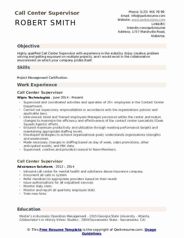 Call Center Supervisor Resume 2 Beautiful Call Center Supervisor Resume Samples In 2020 Resume Examples Resume Objective Manager Resume
