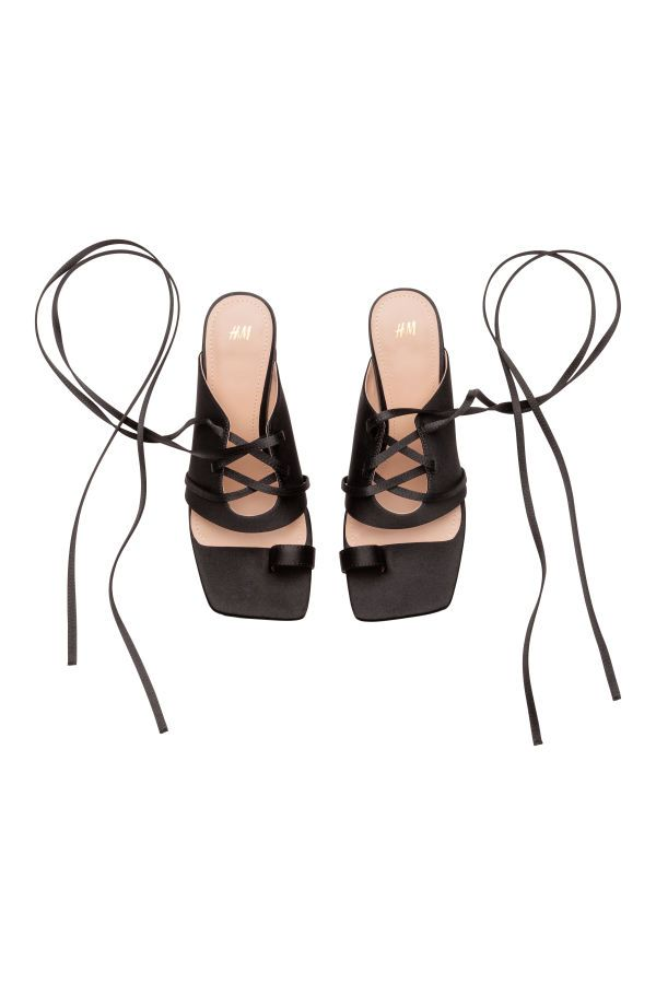 61969b60d67b8 10.- Sandaletten mit Schnürung   Schwarz   SALE   H&M DE   BLACK ...