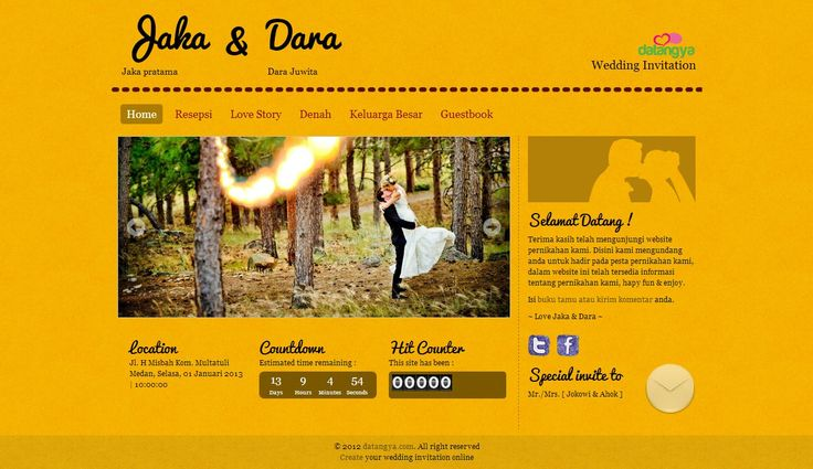 Template undangan pernikahan online tema Lemonice Paper