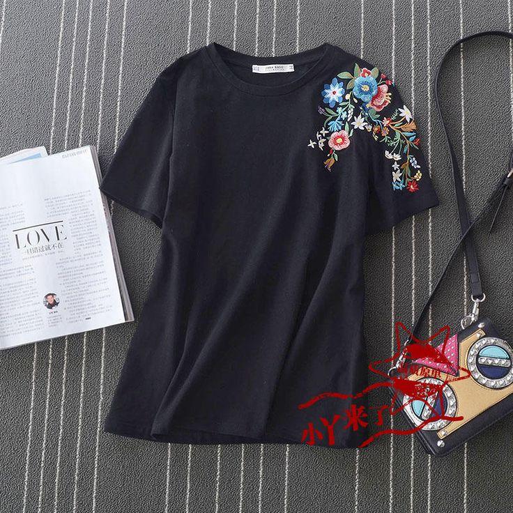 Оригинальные одиночные 2017 лето новый раунд шеи короткий рукав женщин вышитые цветы основывая футболку прямой дикий - Taobao