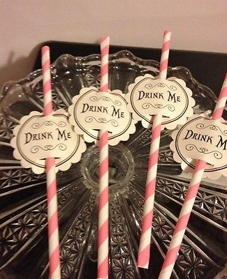 Alice in Wonderland, Tea Party 20 Drink Me Straws Toppers | eBay