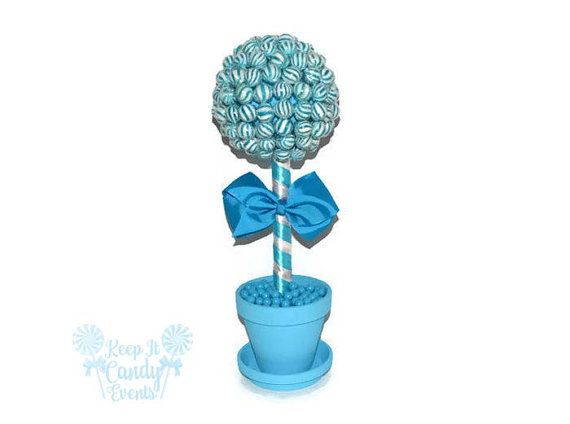 Topiary piruleta azul azul Candy Topiary pieza central de