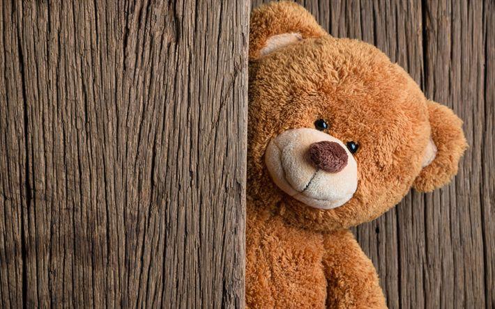 Download wallpapers cute teddy bear, toy, bears, wooden boards