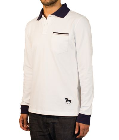 White Polo shirt with pocket and long sleeves, 100% cotton. This Polo shirt has its collar and cuffs colored in blue and gray button holes and threads. The upper part of its pocket is striped and inner part of its collar is red. At its bottom, the logo of a black toy horse stands out. http://www.tailor4less.com/en/collections/custom-polo-shirts/stylo/dogo