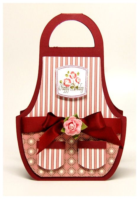 hand created apron card ... adorable details on this apron ... red & white ... stripes & polka dots ...