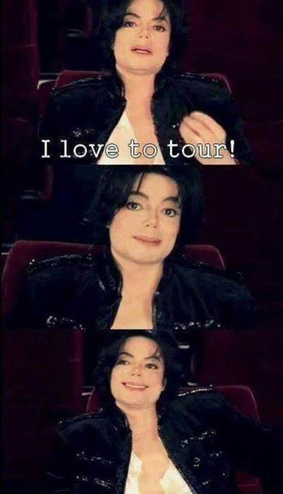 """Michael Jackson trying to lie. Funny moment. """"I go through hell touring.""""  But then in take 2 he said """"I love to tour."""" His makeup artist Karen Faye later said in an interview that  it took 2 days for his adrenaline to calm after 1 show. Touring the world must have been tough..."""