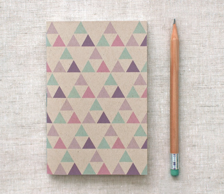 Eco Friendly Mini Notebook, Sketchbook - Geometric Patterns, Purple, Green, Triangles.