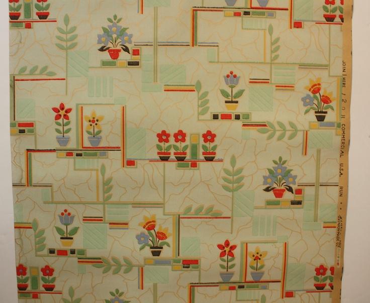1930's Vintage Wallpaper green and red Kitchen design eBay
