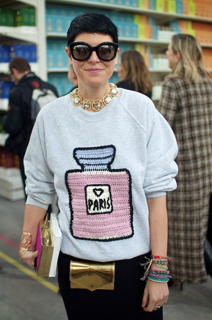 PFW A/W '14, Elisa Nalin at Chanel | great idea and way to embellish plain sweatshirt