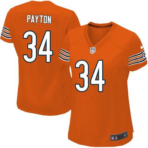$79.99 Women's Nike Chicago Bears #34 Walter Payton Limited Alternate  Orange Jersey