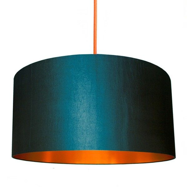 Fabric Lampshade Petrol Brushed Copper Love Frankie Teal Lamp Painting Lamp Shades Drum Lampshade