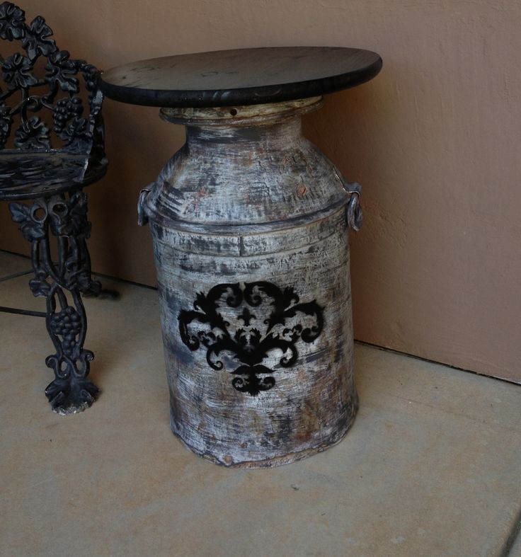 Antique milk can table
