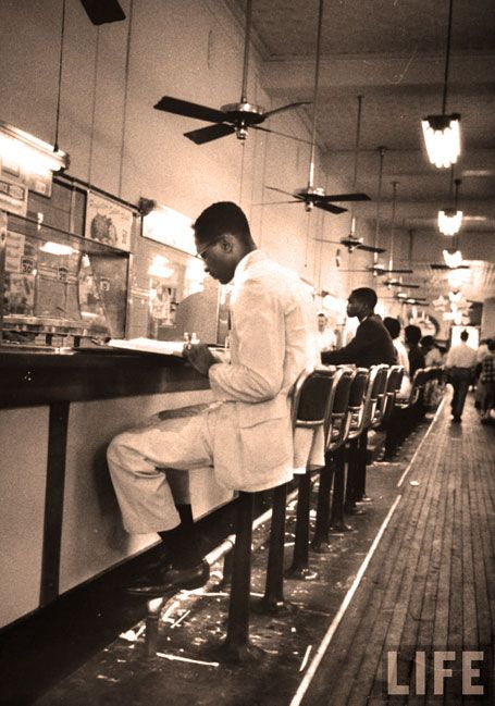 Lunch counter sit ins 1960; the art of peaceful protest. [A protest, simply lets those in power know you object to whatever it is they are doing.]