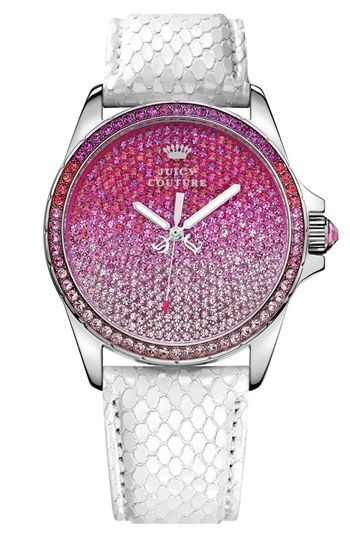 Juicy Couture 'Stella' Crystal Embellished Watch, 40mm  Ombré pink crystals blanket a dazzling round watch case paired with a pearly, snake-embossed leather strap