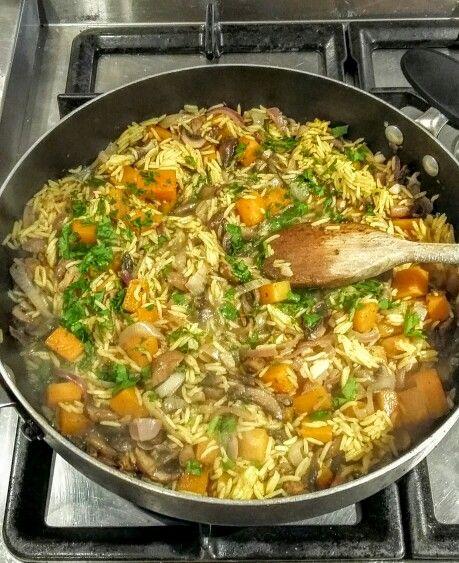 Roast squash and mushroom pilaf with gorgonzola!!! Truly delicious ...