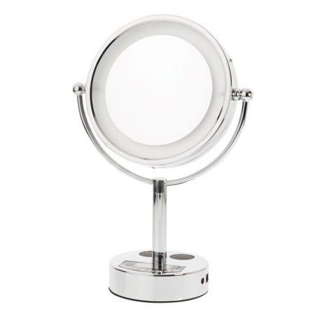 Danielle Led Bluetooth Music 10x Mirror Silver Makeup Mirror