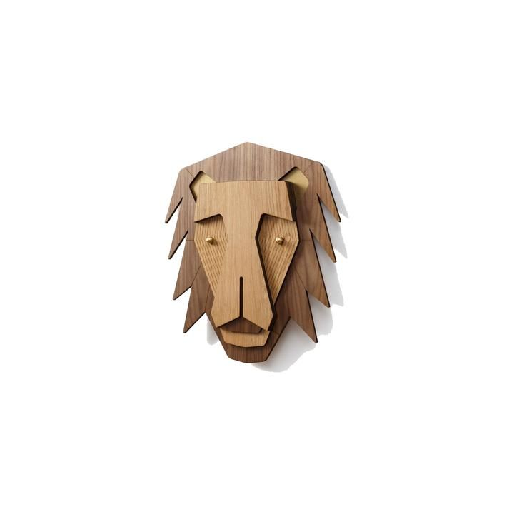 Wooden Lion Animal Head Wall Art Decor by Carved Details