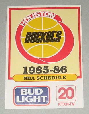 Bud Lite 1985 1986 Houston Rockets Season Schedule
