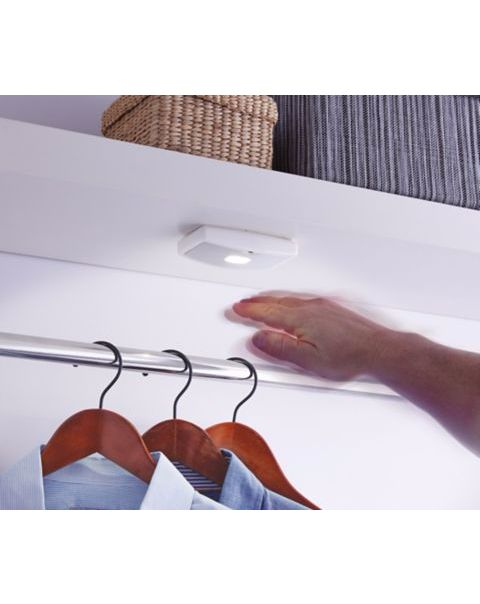 LED closet light with motion sensor. Wave on-off. Adjust brightness between high and low by waving hand. Practical product!