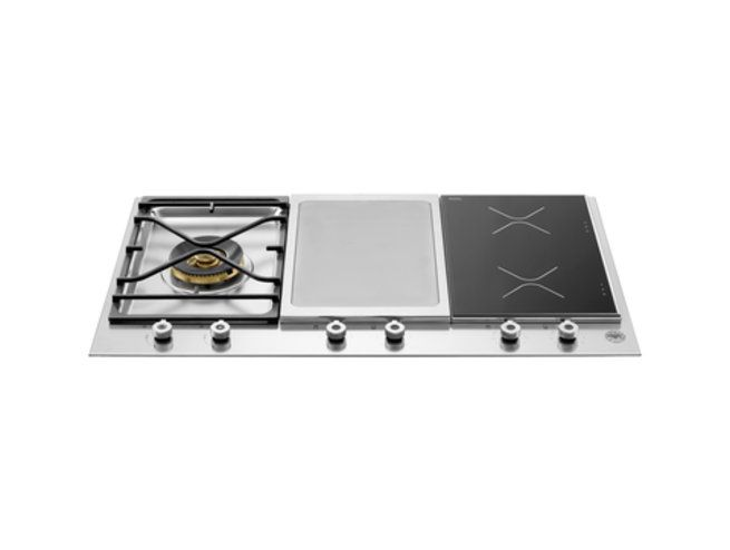 Bertazzoni 90cm cooktop with gas, griddle and 2 zone induction from the Professional Series (model PM 1 IG X)  for sale at L & M Gold Star (2584 Gold Coast Highway, Mermaid Beach, QLD). Don't see the Bertazzoni product that you want on this board? No worries, we can order it in for you!
