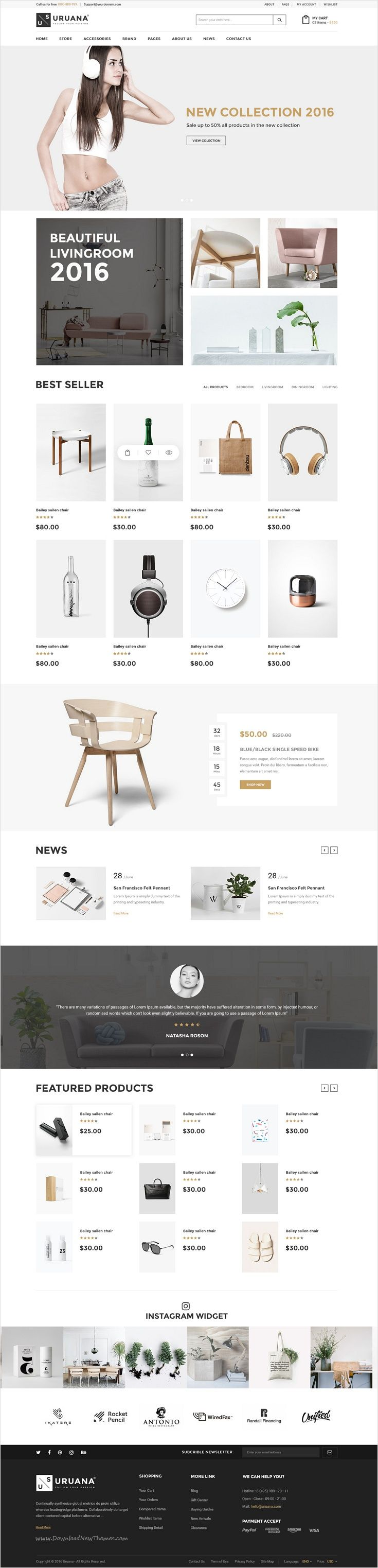 Uruana is uniquly design #PSD template for stunning #furniture #shop eCommerce website with 3+ multipurpose homepage layouts and 21 organized PSD pages download now➩ https://themeforest.net/item/uruana-multi-concept-ecommerce-psd-template/17446677?ref=Datasata