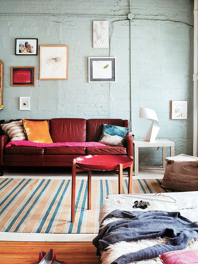 Grey Blue Paint Color With Red Couch Apartment Ideas