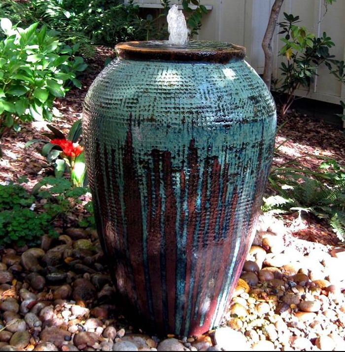 Large Painted Urn Created As A Fountain Elements Of The