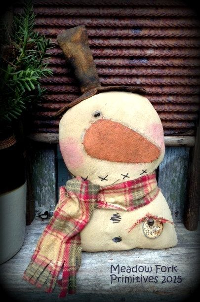 Primitive Folk Art Snowman Bust--Shelf Sitter, Cupboard Tuck, *Snow Happy* Winter, Christmas, Handcrafted, Hafair Team, FAAP by MeadowForkPrims on Etsy