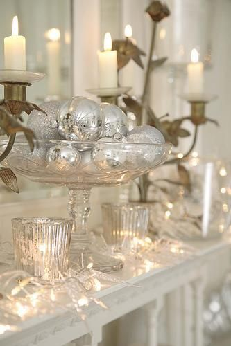 silver and whiteHoliday, Mercury Glasses, Decor Ideas, White Christmas, Christmas Decor, Christmas Ideas, Christmas Mantles, Whitechristmas, Christmas Mantels