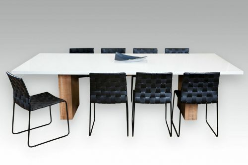 Kings Park Dining Table, Stone top Marri timber leg. Lifestyle Furniture Perth