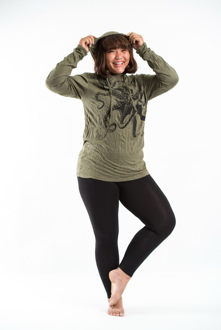 Plus Size Women's Hoodie Octopus Green