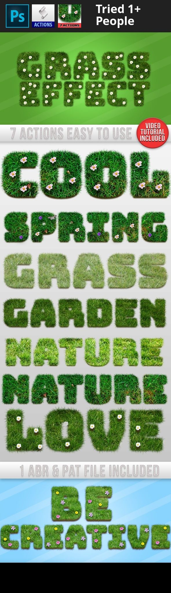 action, brush, butterfly, flower, flowers, garden, generator, grass, grass text effect, grass texture, green, ground, mud, nature, pattern, photorealistic, realistic, spring, style, text, text action, text effect 7 Photoshop Actions Grass Text Generator : High quality actions for your projects Very simple to edit & use.Very simple to use : Follow the tutorial here :     Inside the ZIP file :  7 Photoshop Actions in the ATN file 1 ABR file 1 PAT file A help text file  For best results :...