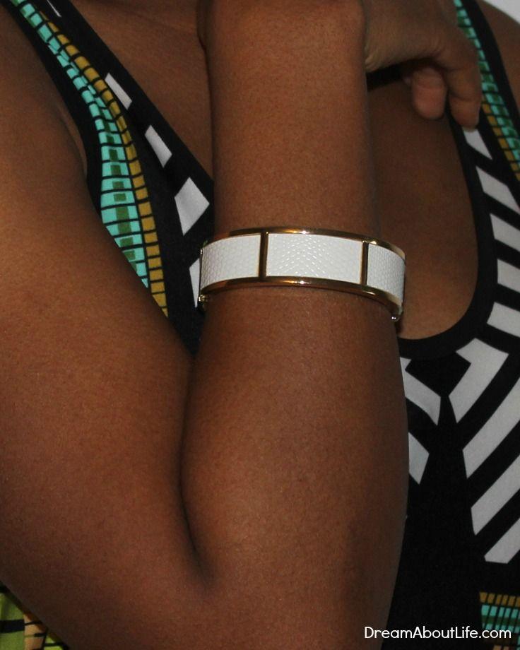 Julie Bracelet - White Leather Fabric Design Bangle
